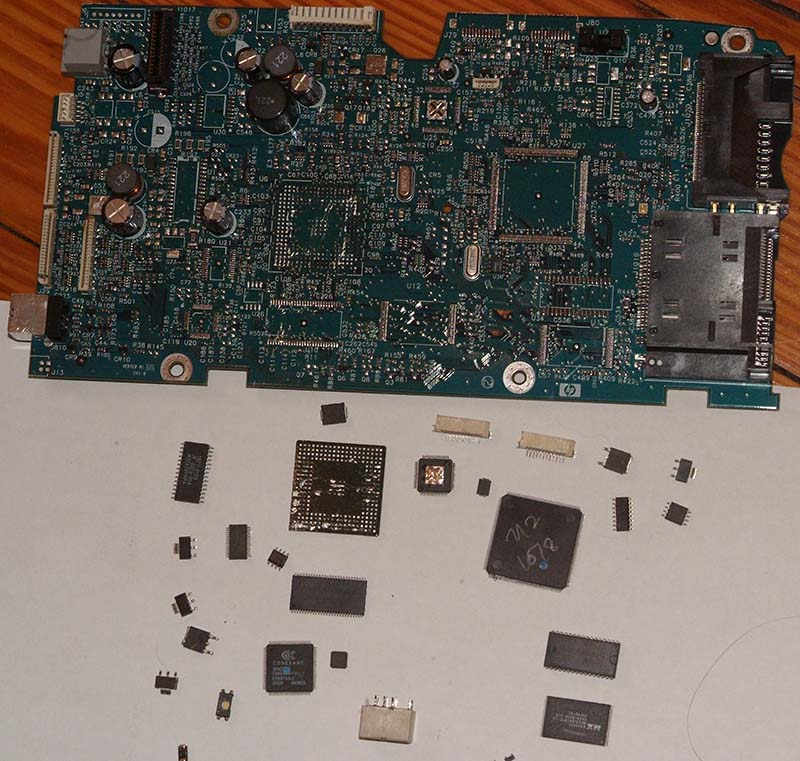 Board with removed chips